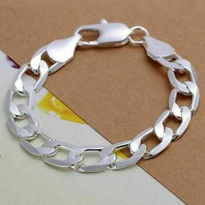 Other - Mens 925 Sterling Silver 12mm Cuban Link Bracelet